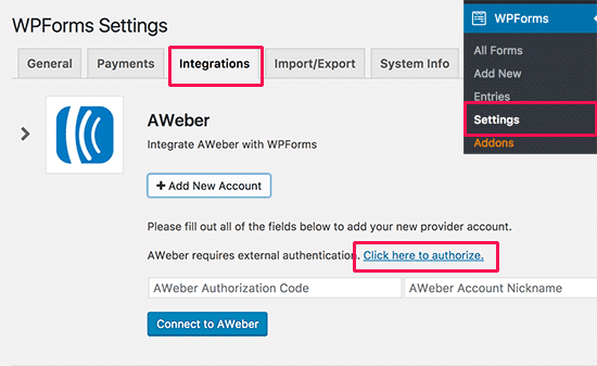 Integrating AWeber to WPForms