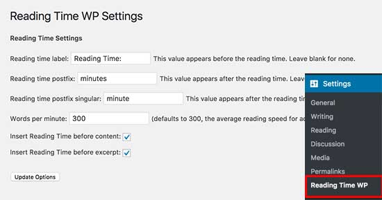 Reading Time WP settings