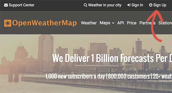 Sign up for open weather map api key