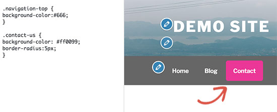 tutorial demo preview screenshot - user settings menu dropdown links css
