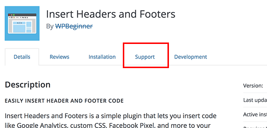 Plugin support tab