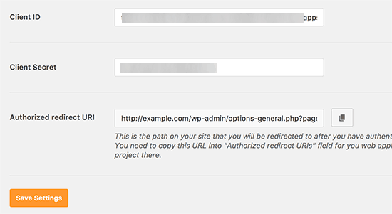 Save client credentials in plugin settings