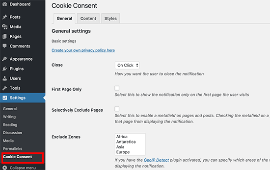 Cookie consent notification settings