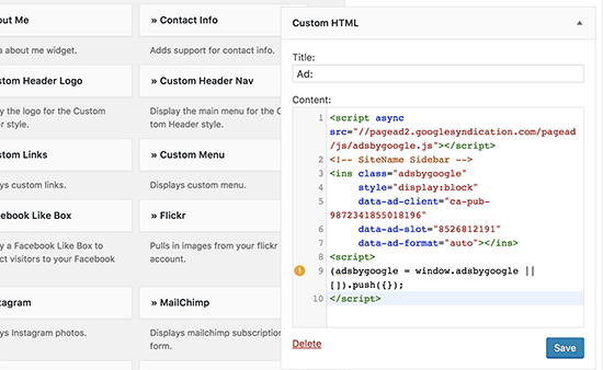 Add your AdSense ad code in custom HTML widget in WordPress