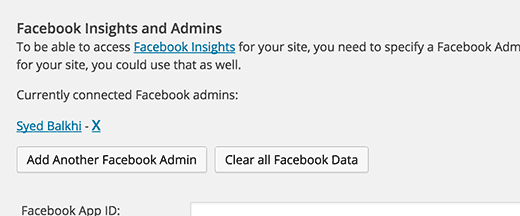 Facebook insights admin user added to WordPress SEO