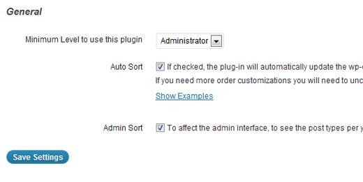 Post Types Order plugin settings