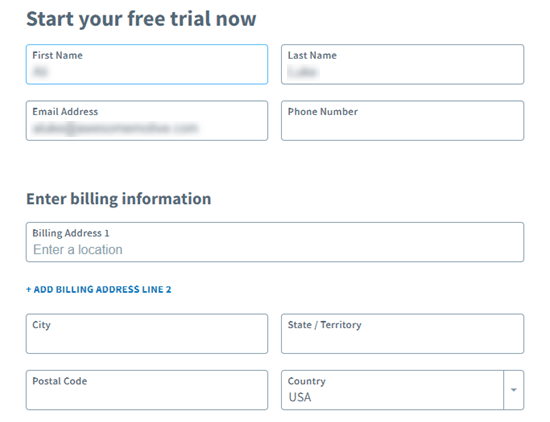 Enter your details in order to start your free trial with AWeber