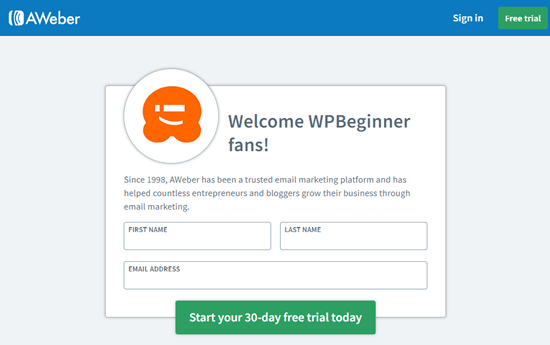 Sign Up for AWeber with our WPBeginner coupon