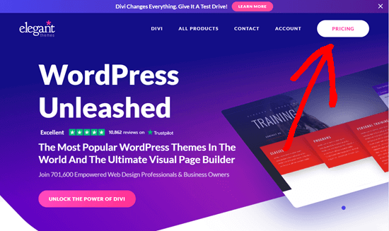 Click from WPBeginner to apply the Elegant Themes discount