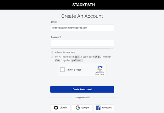 Entering your details to create your StackPath account