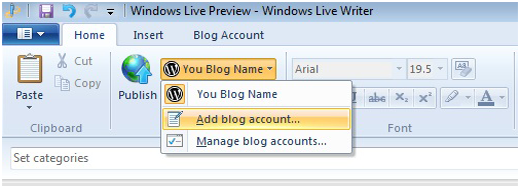 Add new WordPress blog to Windows Live Writer
