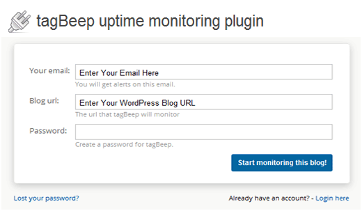 TagBeep Uptime Monitor for WordPress