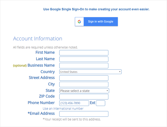 Enter your details to create a Bluehost account