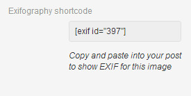 exif shortcode in attachment details
