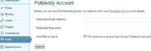 Create a Polldaddy Account to add polls