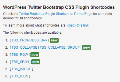 Bootstrap shortcode usage examples