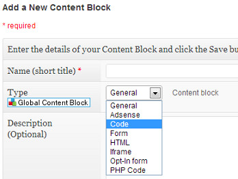 Adding content block name and type
