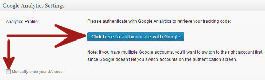Google Analytics for WordPress Plugin Authenticate with Google or Enter UA code manually