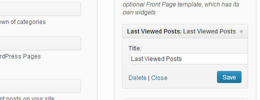 Last viewed posts widget
