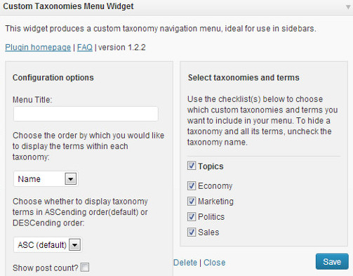 Showing Custom Taxonomies in Sidebar using Widget