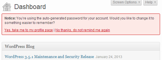 notification to remind users to change auto generated password