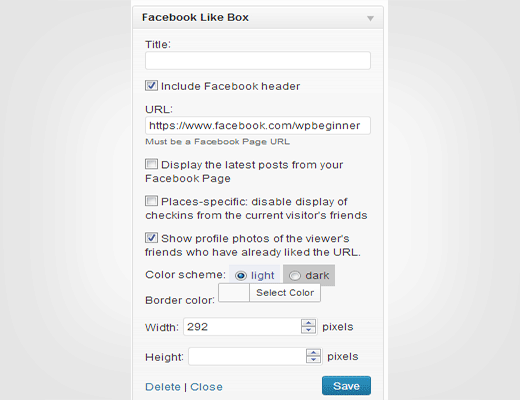 Facebook like box / fan box widget settings