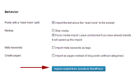Import content and media from Joomla to WordPress