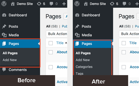 Before and after enabling categories and tags for WordPress pages