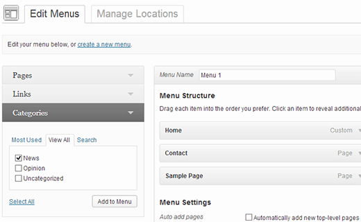 Adding categories to Menus in WordPress