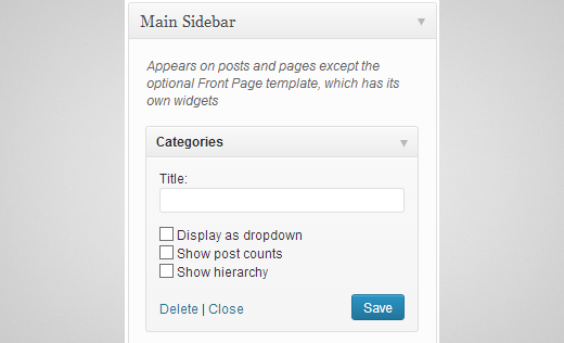 Adding categories widget to WordPress sidebar