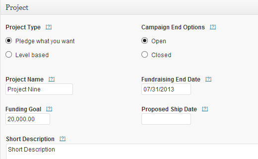 Adding a new crowdfunding project in WordPress using IgnitionDeck