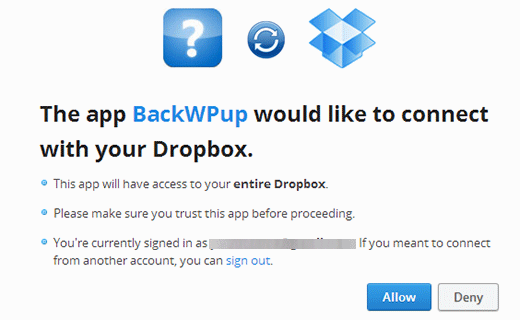 Giving BackWPup Access to your Dropbox account