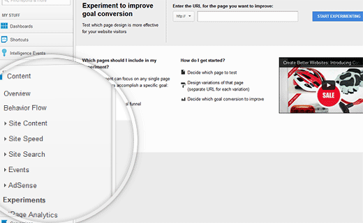 Start A/B Testing Content Experiment in Analytics
