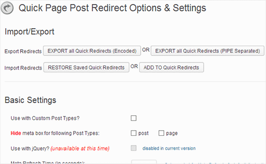 Quick redirect options page