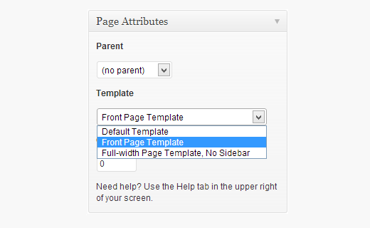 Select a page template for your home page
