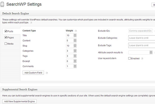 SearchWP Settings Screen