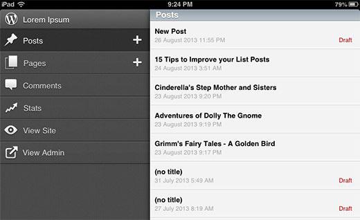WordPress App voor iOS hoofdgebruikersinterface met menu