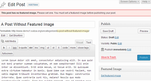 Asking user to upload featured image before publishing a post