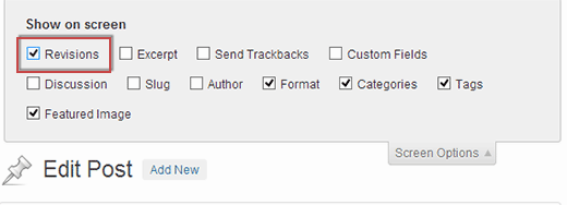 Displaying revisions in post edit area of WordPress admin