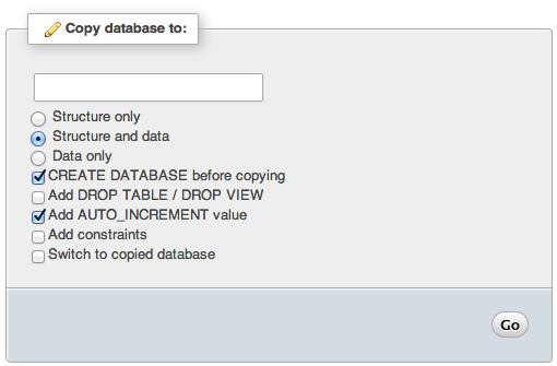 phpMyAdmin Copy Database To