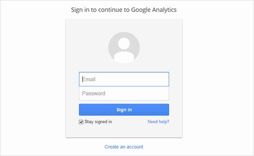 Step 1 for Google Anayltics Signup