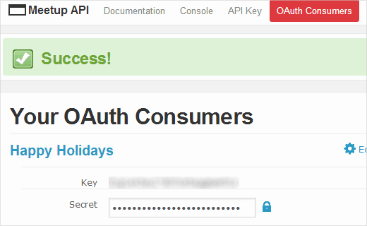 Meetup.com OAuth Consumers Key