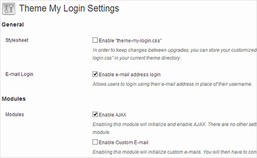 Theme My Login settings page