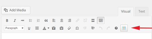 Advanced wp columns button in WordPress visual editor