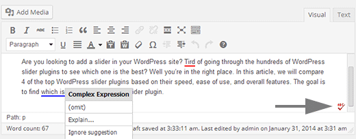 Spellcheck icon added by After the deadline browser extension