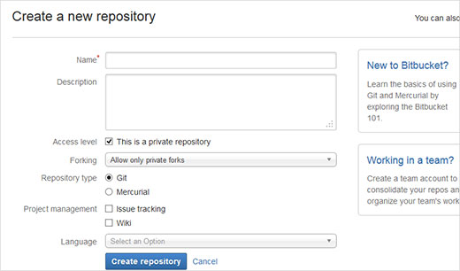 Creating a new repository in BitBucket