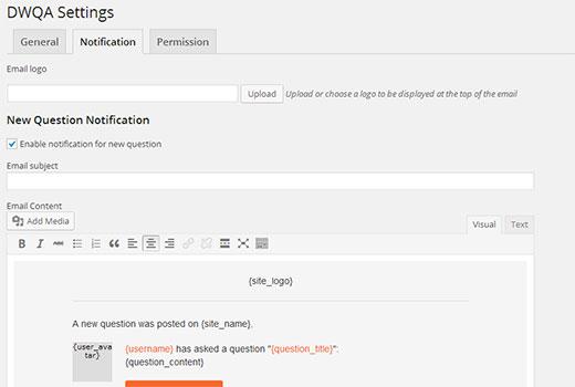 Notification settings screen
