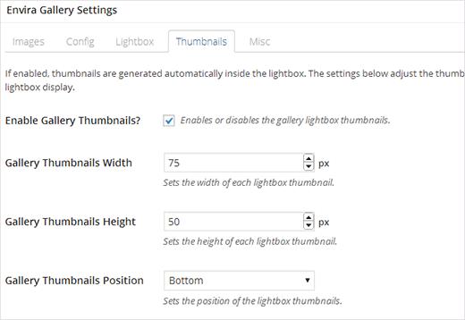 Configure thumbnail options