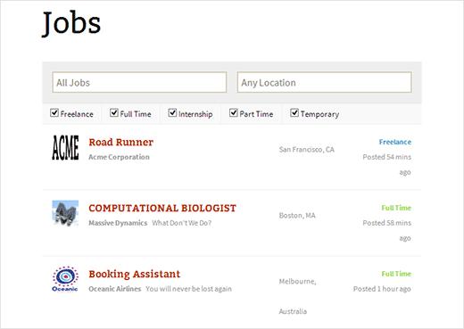 Job listings page