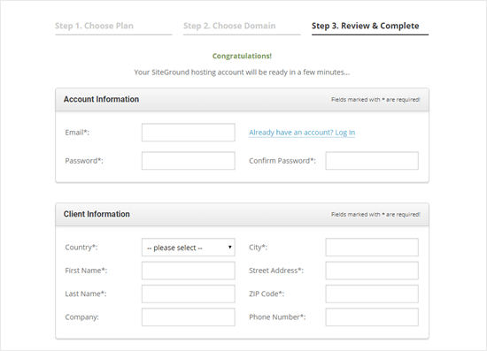Entering the details you want to use for your Siteground account
